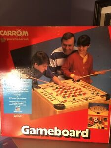 VTG Sealed Carrom Wooden Gameboard 46 pieces crokinole 100 cue sticks Checkers