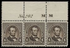 US #222, 4¢ Lincoln, dark brown, Plate No. Imprint Strip of 3, og, NH, XF,