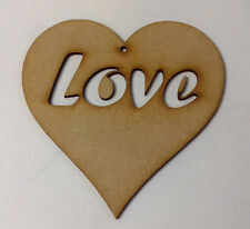12 x Laser Cut Wooden Heart Craft Shapes 10cm with Love cut out from 3mm MDF