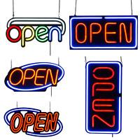 LED Neon Open Sign 20x10 / 24x12 / 31.5x15.7 inch Vertical Decoration PVC PRO
