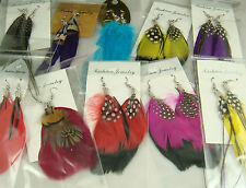 wholesale 100% Handmade 5pairs MIX Dangle Eardrop Genuine feathers earrings l17
