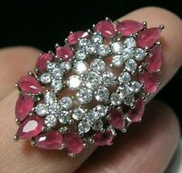 Beautiful Sterling SILVER Topaz & Ruby Quartz Art Deco Revival RING N 6.75