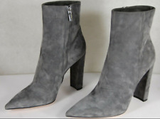 GIANVITO ROSSI Piper 85 Ankle Boots GRAY Suede Pointed Toe HI Heel EU 40.5 US 9