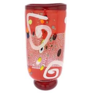 GlassOfVenice Murano Glass Modern Art Vase - Red