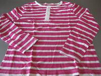 Shirt T-Shirt Gr. 122/128 H&M, Langarm, gestreift Pink/Weiß, Knopfleiste, leicht