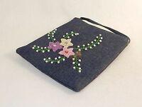 Beaded Denim Purse w/Shoulder Strap, Colorful Star Flower Pattern, #CHBP15