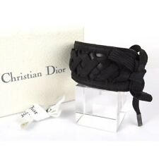 AUTH CHRISTIAN DIOR BLACK LEATHER BRAIDED BANGLE BRACELET WITH BOX