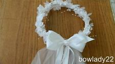 First Communion Wreath Veil with White Satin Bow Ribbon & Pearls Streamers NEW