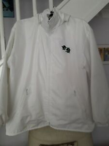 White Waterproof Fleece Lined Hooded Bowls Coat Size XL