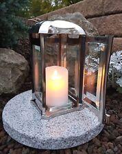 Grablaterne + LED + Sockel Grablampe Grableuchte Grablicht Edelstahl Grabschmuck
