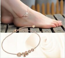 Stainless Steel Rose Gold Foot Jewelry Anklet Coin Bell Ankle Bracelet Gift PE13