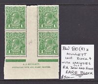 KGV 1d GREEN MULLETT IMPRINT BLOCK OF 4 WITH VARIETIES, BW 80(4)z