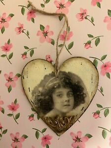 Peony Crafts handmade craft wall hanging Vintage Heart Girl 10cm