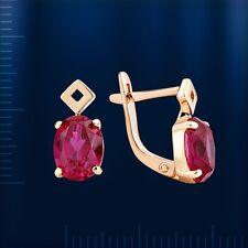 Russische Rose Rotgold 585 Ohrringe mit Rubin ca. 3.58g . Neu  Glänzend.