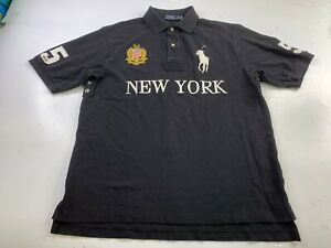 Polo Ralph Lauren Men's Black New York Embroidered Big Pony Rugby Large Tall