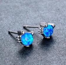 Blue Fire Opal Natural Gemstone Gem Stud Cat Animal Earrings 925 Silver Jewelry