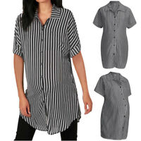 Women Striped Maternity Blouse T-Shirts Short Sleeve Turn Down Collar Top S-2XL