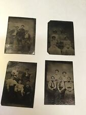 4 Tin Type Photographs Family Posed Tintype
