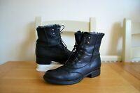 "CLARK`S ""MORTIMER JANE"" BLACK LEATHER VINTAGE CHIC ANKLE BOOTS UK 4D RRP £79.99"