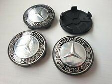 4x Cache moyeux - Centre roue jantes TUNING - Mercedes Benz Noir 68mm 65mm logo