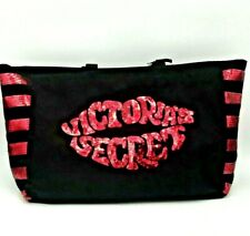 Victoria's Secret XL Tote Black Sequin Lips Oversized Zippered Bag Weekender NWT