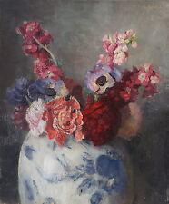 Otto John Herschel, Blumen in Porzellanvase, Öl auf Holz, signiert