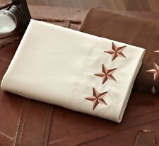 CREAM EMBROIDERED WESTERN STAR 4pc Queen SHEETS SET : TEXAS COWBOY IVORY RANCH