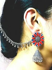Indian Silver Plated Oxidized Latest Design Jumka Jumki Earring with Chain