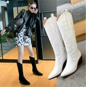 Womens 2020 Fashion Leather Embroidered Knee High Western Cowboy Boots Shoes DID
