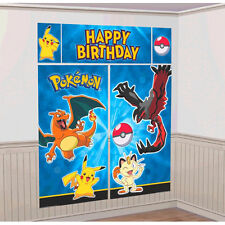 Pikachu & Friends Pokemon Birthday Scene Setter Banner Wall Party Decoration Kit