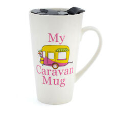 NEW My Caravan Campervan Ceramic Travel Mug With Non Spill Lid Perfect Gift