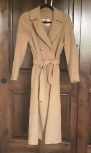 Authentic Burberry London Wool Cashmere Long Trench Coat Tan Camel