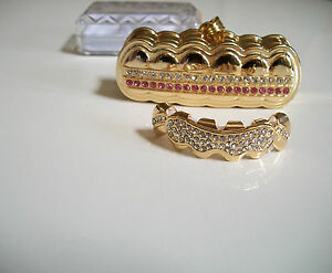 Men's Stones Gold finish  For Top Teeth Mouth  Grillz With Holder & Box