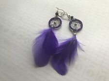 DREAMCATCHER EARRINGS WITH PURPLE FEATHERS  N3