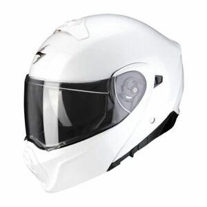 L 59-60 2021 SCORPION EXO 930 MODULAR SOLID WHITE FLIP MOTORCYCLE CRASH HELMET