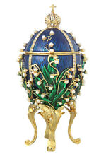 Faberge Egg Music & Trinket Box Russian Emperor Crown & Flowers 6.3'' 16cm blue