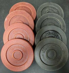 "Set of 8 Vintage Sportcraft Official Shuffleboard Discs Red & Black 6""x 7/8"""