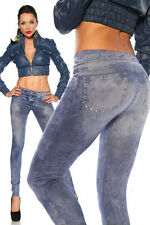 Markenlose bodenlange Damen-Leggings aus Polyamid ohne Muster