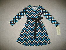 "NEW ""SILKY POLKA-DOTS"" BLUE Dress Girls Clothes 5 Fall Winter Rare Editions Kids"