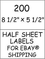 200 HALF SHEET STICKY! LABELS FOR EBAY® SHIPPING