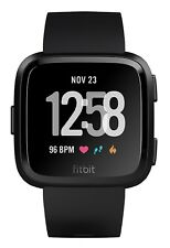 Fitbit Versa Smartwatch Pulsuhr (Armbänder S & L enthalten) Fitness GPS Schwarz