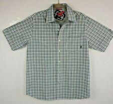 bf25732ba2 Billabong Never Established Mens Med Plaid Button Front Short Sleeve Blue  Green