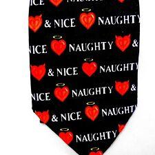 Naughty & Nice Valentine's Day Tie Black & Red Valentine Hearts & Devil Hearts