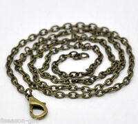 "12 Bronze Tone Lobster Clasp Link Chain Necklaces 18"" B12720"