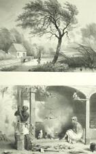 Intérieur de Cuisine Combé - Guyane Suriname Lithographie XIXème
