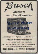 Werbung: RATHENOW, 1913, Emil Busch AG Objektive Hand-Kamera Optik Feldstecher
