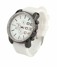 Mens Watch Unisex Big Face Watch Large Oversized Dial White Silicone Band Reloj