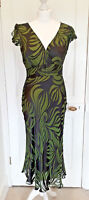 Phase Eight Green Devore Burnout Hourglass Dress Silk Mix Velvet Wedding Sz 10