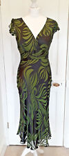 Phase Eight Green Devore Burnout Hourglass Races Dress Silk Mix Velvet Sz 10