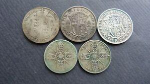 3x George V Half Crowns 1920,1932,1934 plus 2x Florin 1921 0.500 (50%) Silver